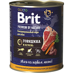 Консервы для собак Brit Premium by Nature Говядина и печень